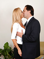Anilos Brooke Tyler sucks a massive cock and gets her shaved pussy fucked by her husband